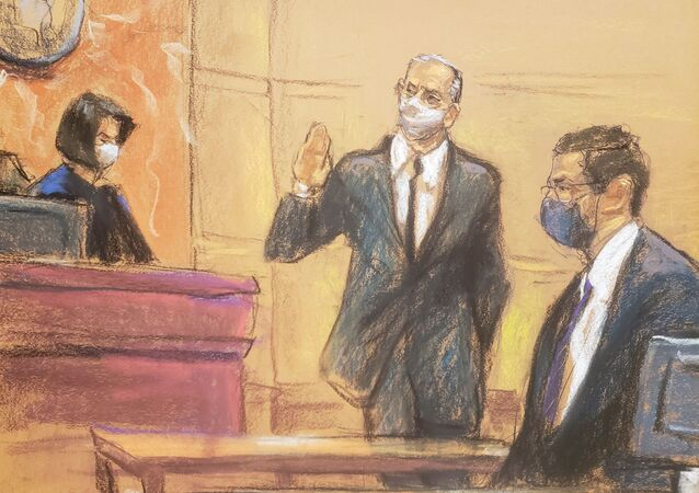 Mexico's former Defense Minister Salvador Cienfuegos appears before Judge Carol Bagley Amon and next to acting United States Attorney for the Eastern District of New York Seth DuCharme during a hearing to consider a U.S. government request to drop drug charges, in a courtroom sketch in the Brooklyn borough of New York City, U.S. November 18, 2020