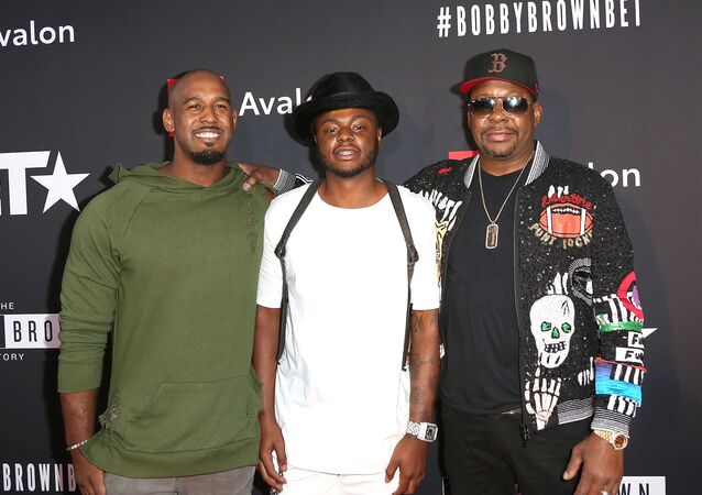 Landon Brown, Bobby Brown Jr., and Bobby Brown arrive at the premiere screening of The Bobby Brown Story presented by BET and Toyota at Paramount Theater on the Paramount Studios lot on 29 August 2018 in Hollywood, California.