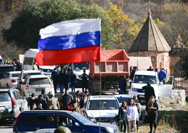 Russian flag waves near the Dadivank Armenian monastery, in the self-proclaimed Nagorno-Karabakh Republic