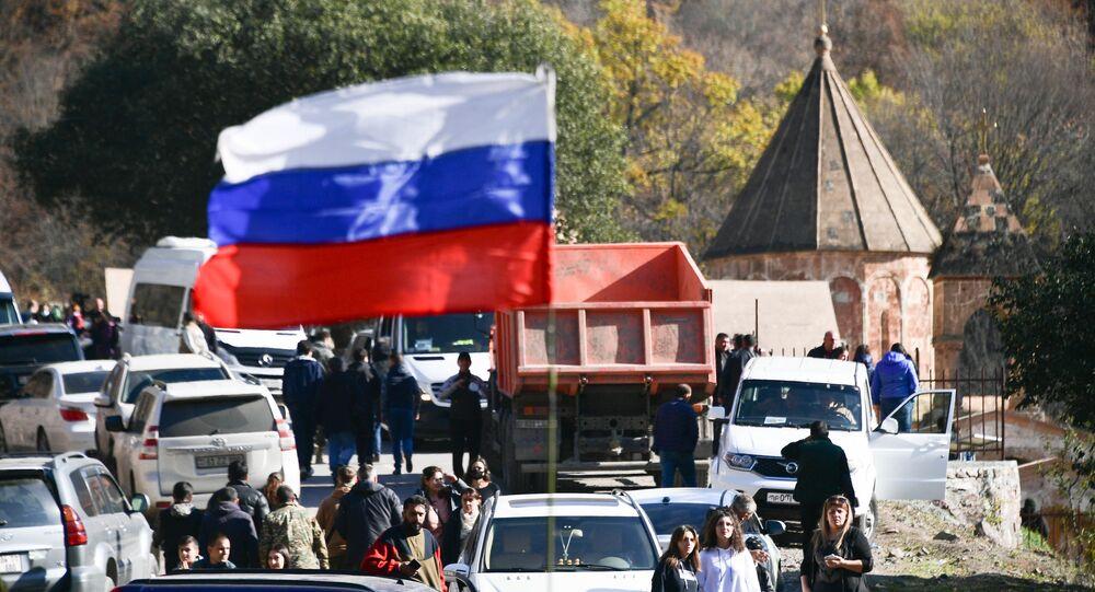 Russian flag waves near the Dadivank Armenian monastery, in the self-proclaimed Nagorno-Karabakh Republic