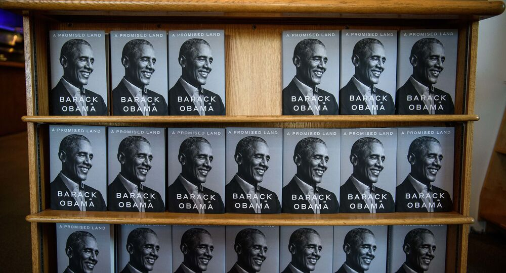 Former US President Barack Obama's new book A Promised Land is seen in a bookstore in Washington, DC, on November 17, 2020
