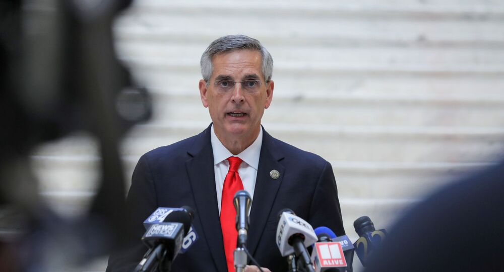 Georgia Secretary of State Brad Raffensperger gives an update on the state of the election and ballot count during a news conference at the State Capitol in Atlanta, Georgia, U.S., November 6, 2020