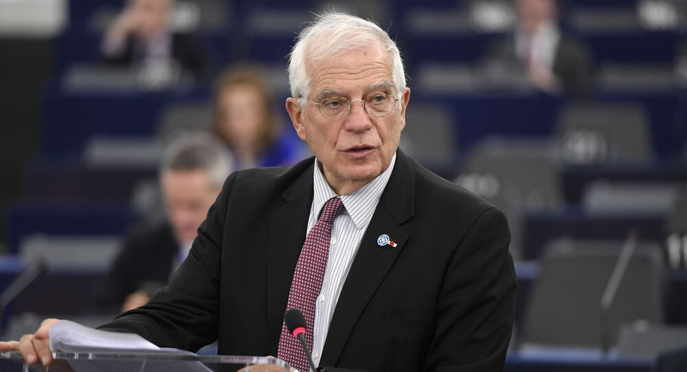 European Union High Representative for Foreign Affairs and Security Policy Josep Borell speaks during a debate at the European Parliament on 14 January 2020 in Strasbourg, eastern France.