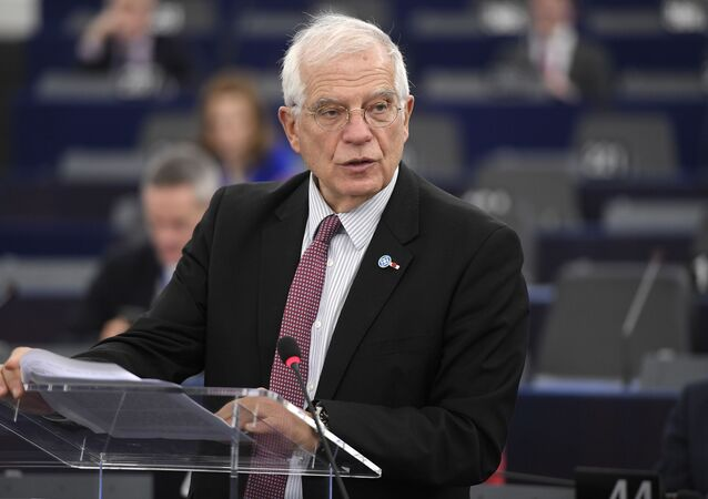 European Union High Representative for Foreign Affairs and Security Policy Josep Borell speaks during a debate at the European Parliament on January 14, 2020 in Strasbourg, eastern France.