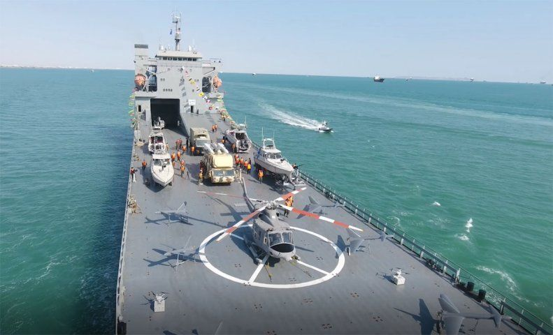The Shahid Rudaki, a new Iranian roll-on/roll-off warship fielded by the Revolutionary Guards.