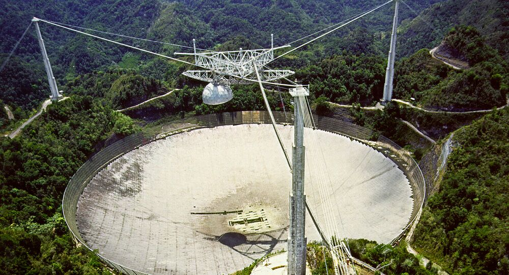 This file handout photo taken on November 29, 2006, obtained from the National Astronomy and Ionosphere Center (NAIC) website, shows the Arecibo Observatory in Puerto Rico.