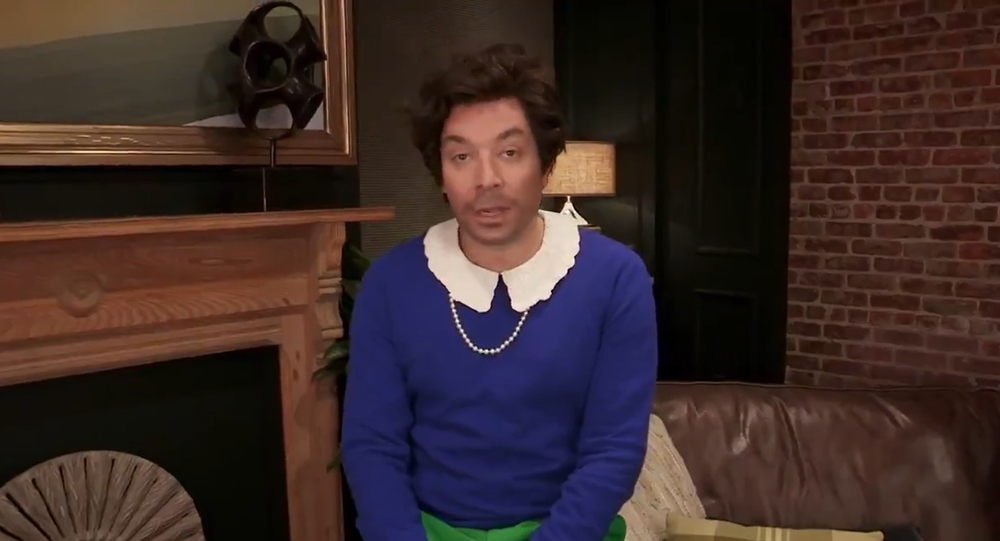 Screenshot from The Tonight Show's 73 Questions With Harry Styles, with Jimmy Fallon impersonating Harry Styles