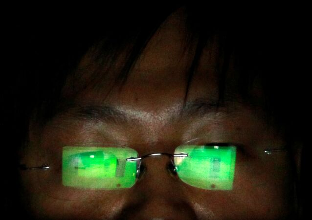 A hacker, who asked not to have his name revealed, works on his laptop in his office in Taipei July 10, 2013.