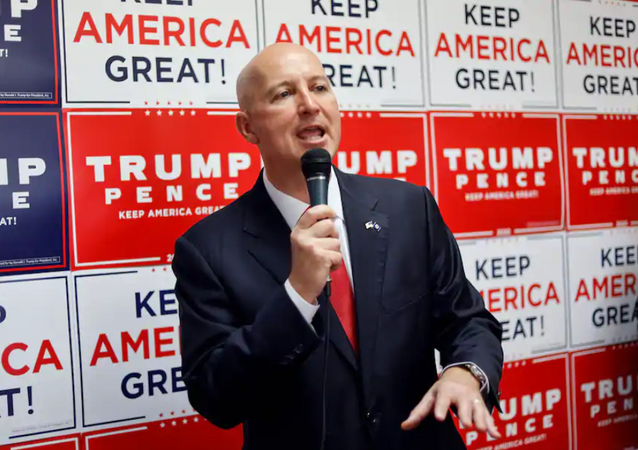 In this Aug. 20 photo, Nebraska Gov. Pete Ricketts (R) addresses Republican supporters during the opening of the Nebraska Trump Victory Office in Omaha.