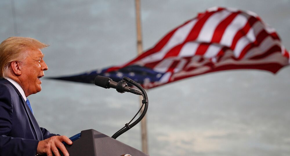 U.S. President Donald Trump speaks during a campaign rally at Cecil Airport in Jacksonville, Florida, U.S., September 24, 2020.