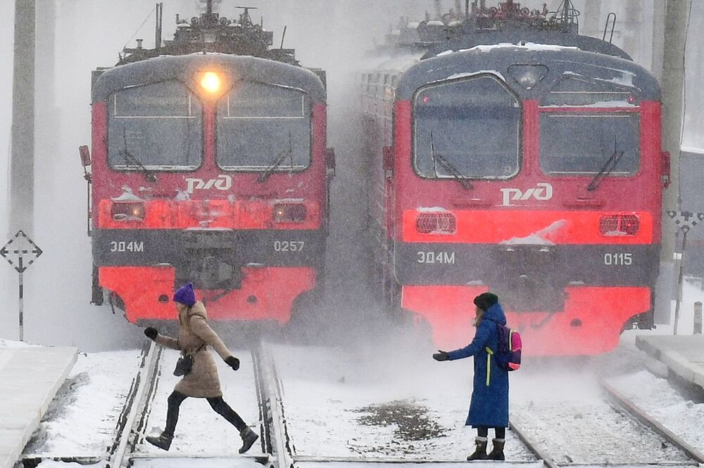 Two trains on the Ob Sea platform in Novosibirsk, Russia