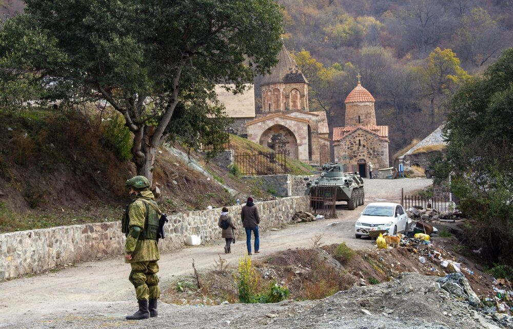 A Russian peacemaker at the Dadivank monastery in Nagorno-Karabakh. At the request of local residents, the Russian peacekeeping contingent has set up an observation post at the existing Dadivank monastery in the Kelbajar region, which, in accordance with the ceasefire agreement must be returned to Azerbaijan.
