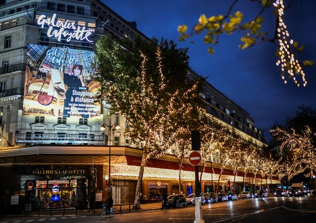 A photograph taken on November 17, 2020 shows the Galeries Lafayette Haussmann store in Paris.