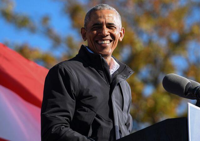 Former President Barack Obama addresses voters one day before the election, in Atlanta, Georgia, U.S., November 2, 2020.