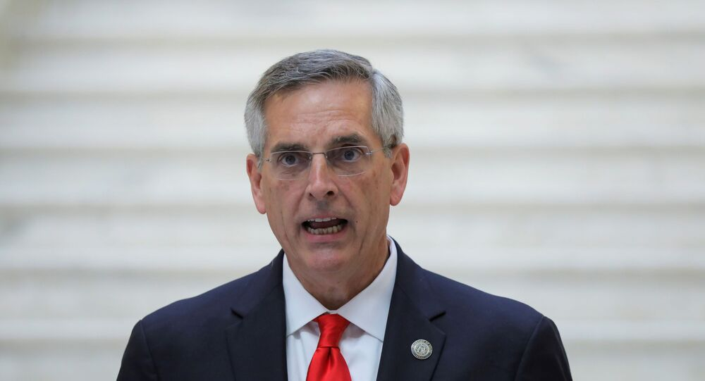 Georgia Secretary of State Brad Raffensperger gives an update on the state of the election and ballot count during a news conference at the State Capitol in Atlanta, Georgia, U.S., November 6, 2020.