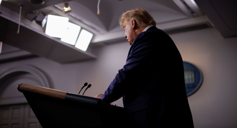 US President Donald Trump speaks about prescription drug prices during an appearance in the Brady Press Briefing Room at the White House in Washington, 20 November 2020.