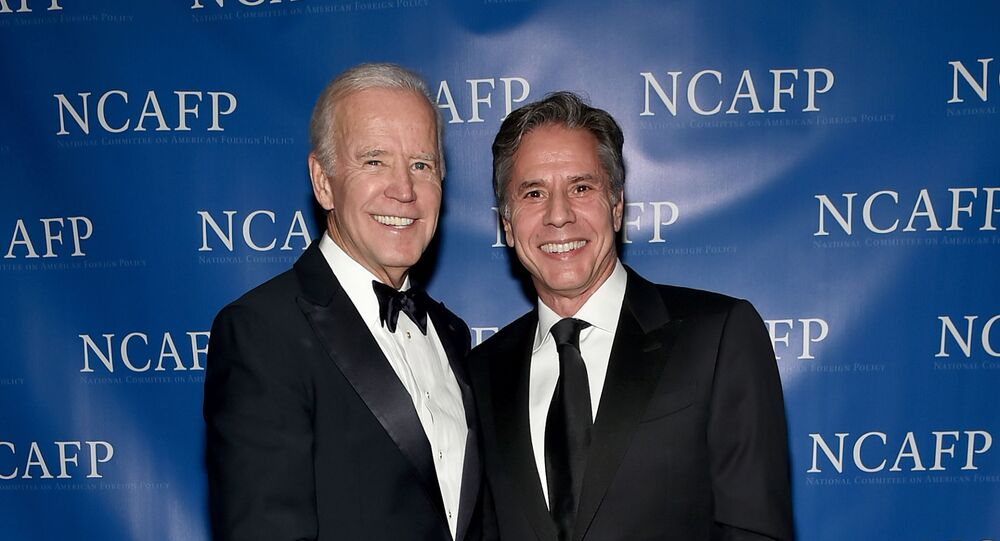 NEW YORK, NY - OCTOBER 30: 47th Vice President of the United States Joe Biden and Former Deputy Secretary of State Antony Blinken attend the National Committee On American Foreign Policy 2017 Gala Awards Dinner on October 30, 2017 in New York City.