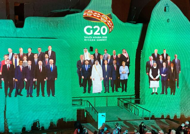Family Photo for annual G20 Summit World Leaders is projected onto Salwa Palace in At-Turaif, one of Saudi Arabia?s UNESCO World Heritage sites, in Diriyah, Saudi Arabia, 20 November 2020