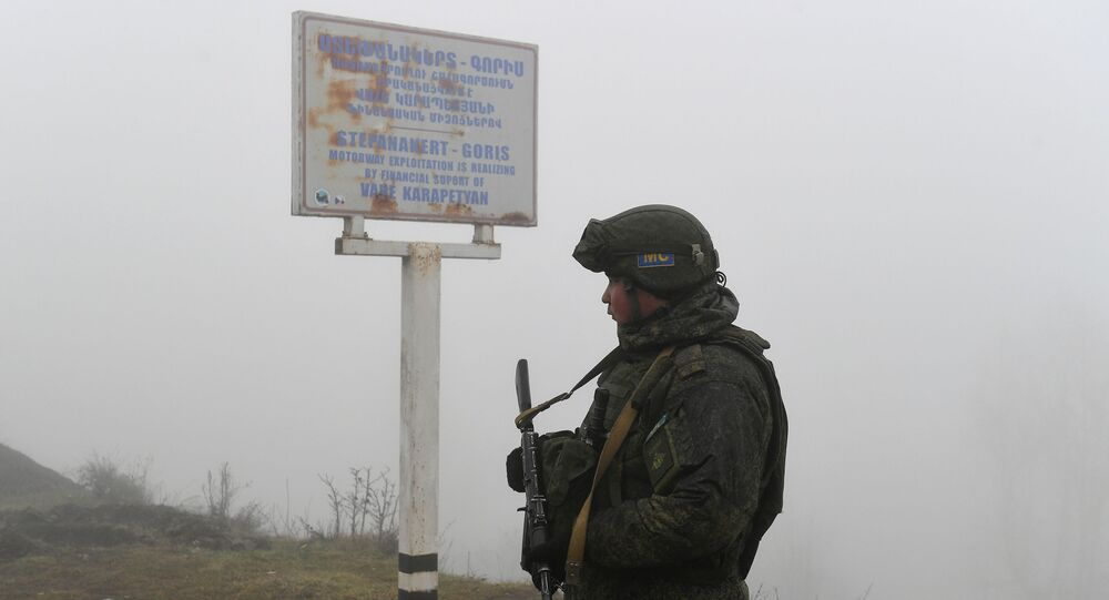 A Russian peackeeper in Lachin