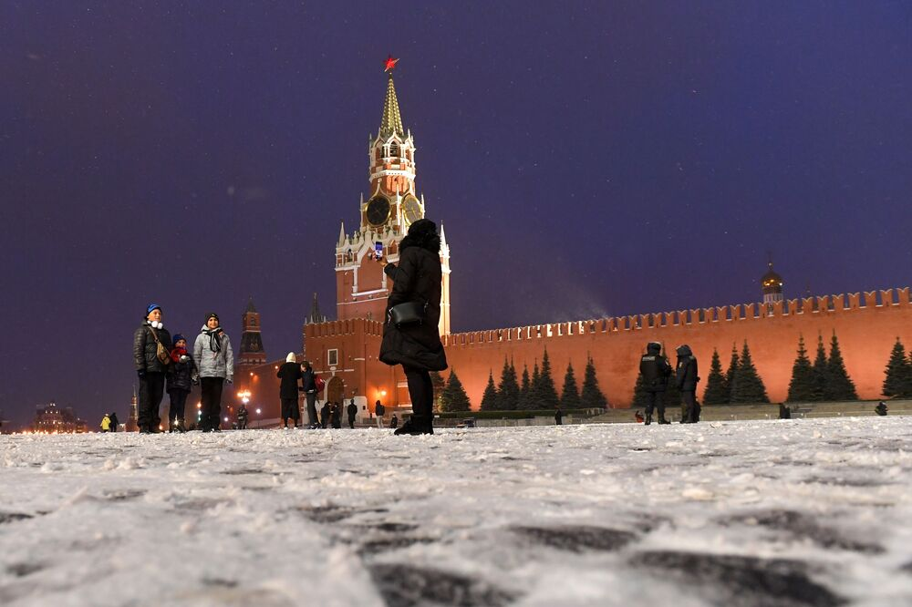 People take pictures in Red Square