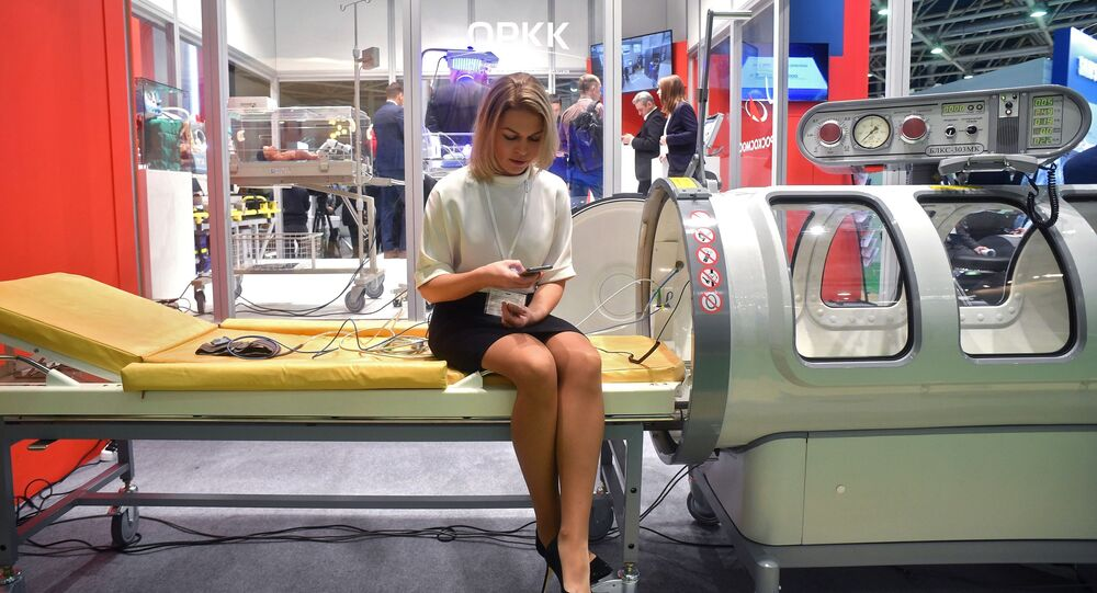 Hyperbaric chamber at an expo in Russia, 2019.