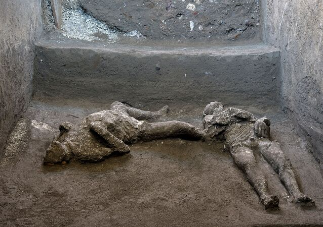 Remains of two men who died in the volcanic eruption that destroyed the ancient Roman city of Pompeii in 79 AD are discovered in a dig carried out during the coronavirus disease (COVID-19) pandemic in Pompeii, Italy November 18, 2020.