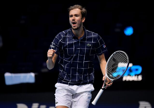 Tennis - ATP Finals - The O2, London, Britain - November 21, 2020 Russia's Daniil Medvedev celebrates winning the secong set during his semi-final match against Spain's Rafael Nadal
