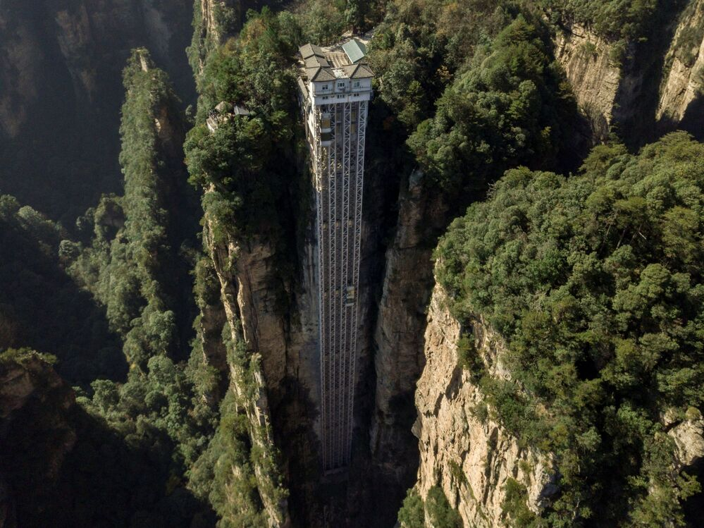 An aerial view of the Bailong Elevators in Zhangjiajie National Forest Park, China's Hunan province.