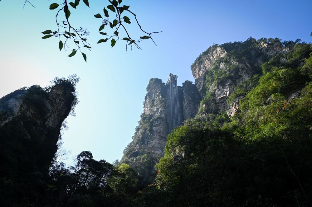 The Bailong Elevator running in Zhangjiajie National Forest Park, China's Hunan province.