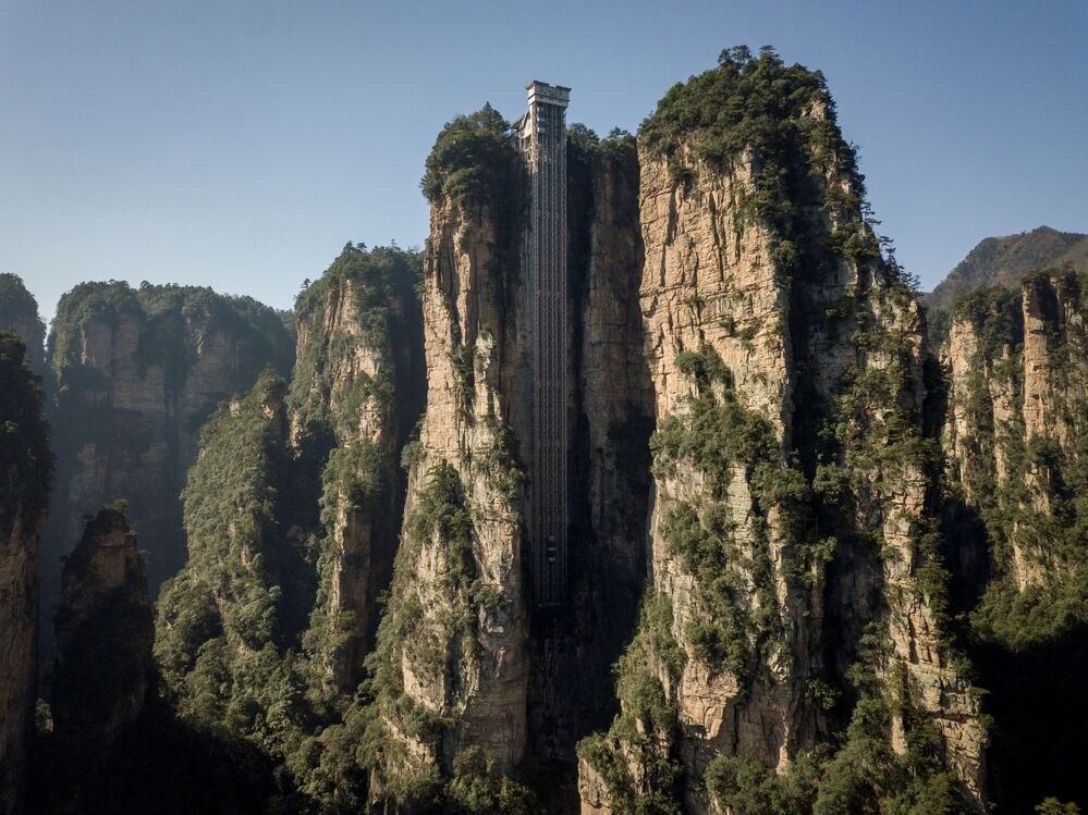 An aerial view of the Bailong Elevator in Zhangjiajie National Forest Park, China's Hunan province.