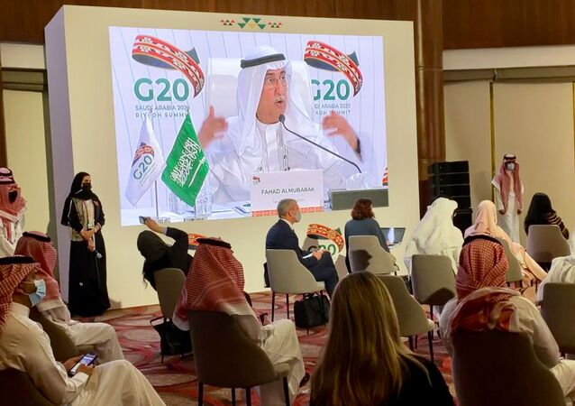 G20 Sherpa, Fahad al-Mubarak speaks during virtual news conference aired live at the media centre of the 15th annual G20 Leaders' Summit in Riyadh, Saudi Arabia, November 22, 2020.