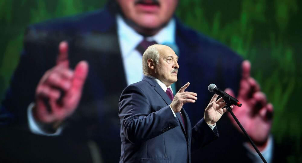 Belarusian President Alexander Lukashenko speaks at the forum of Union of Women in Minsk, Belarus September 17, 2020.