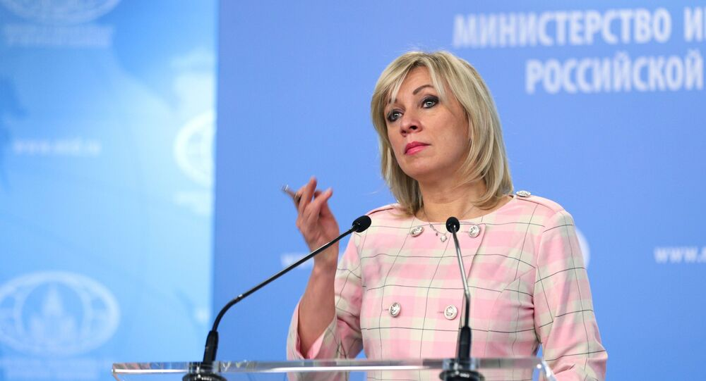 Russian Foreign Ministry Spokeswoman Maria Zakharova during a briefing in Moscow