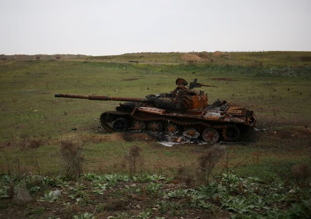 A view shows a destroyed tank in Fuzuli district in the region of Nagorno-Karabakh, November 18, 2020. Picture taken November 18, 2020.