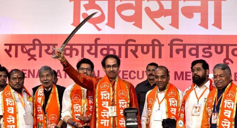 Uddhav Thackeray at the Shiv Sena's national executive in Mumbai in 2019 when the party said it would go it alone in the Lok Sabha and Maharashtra assembly elections.