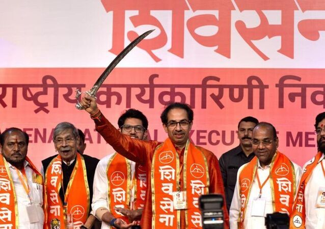 Uddhav Thackarey at the Shiv Sena's national executive in Mumbai on Tuesday where the party announced it would go solo in the Lok Sabha and Maharashtra assembly elections in 2019