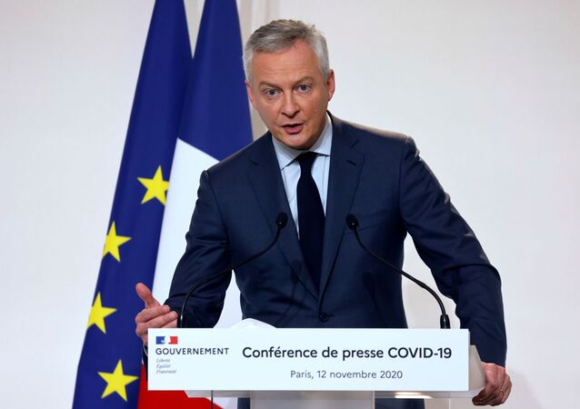 French Economy and Finance Minister Bruno Le Maire speaks during a news conference on the country's COVID-19 situation at the French Health Ministry in Paris, France November 12, 2020