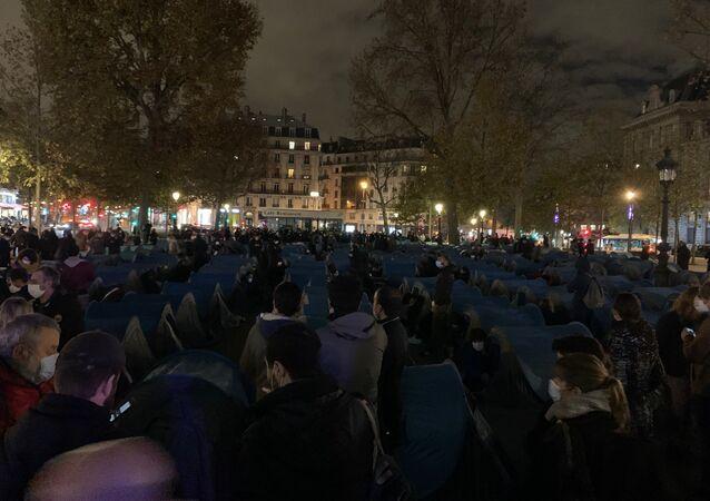 Migrants organise a camp in La Place de la Republique in Paris on 23 November 2020
