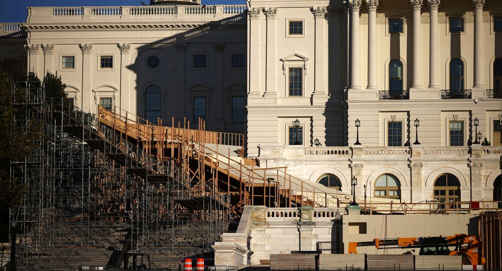 The inaugural platform is seen under construction in front of the U.S. Capitol building in Washington, U.S. November 16, 2020.