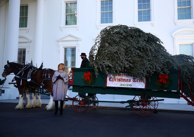 U.S. first lady Melania Trump applauds the arrival of the White House Christmas Tree, an 18.5-foot Fraser Fir from Oregon, as it arrives outside the White House in Washington, U.S., November 23, 2020