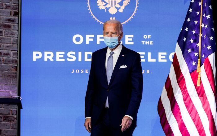 U.S. President-elect Joe Biden arrives to announce his national security nominees and appointees at his transition headquarters in Wilmington, Delaware, U.S., November 24, 2020.
