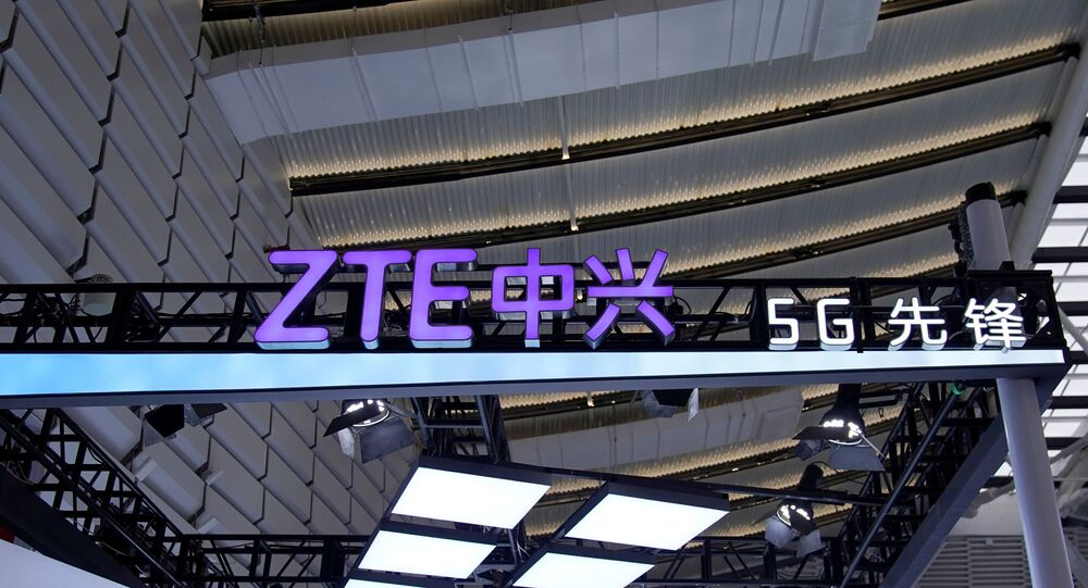 A logo of Zte is seen during the World Internet Conference (WIC) in Wuzhen, Zhejiang province, China, November 23, 2020.