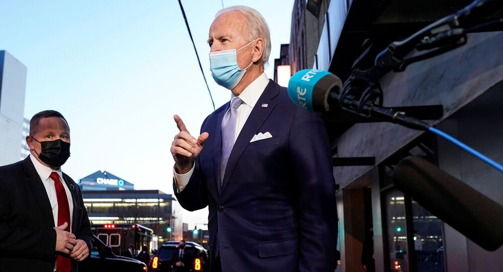 U.S. President-elect Joe Biden speaks to the media as he departs from his transition headquarters in the Queen Theater in Wilmington, Delaware, U.S., November 24, 2020.