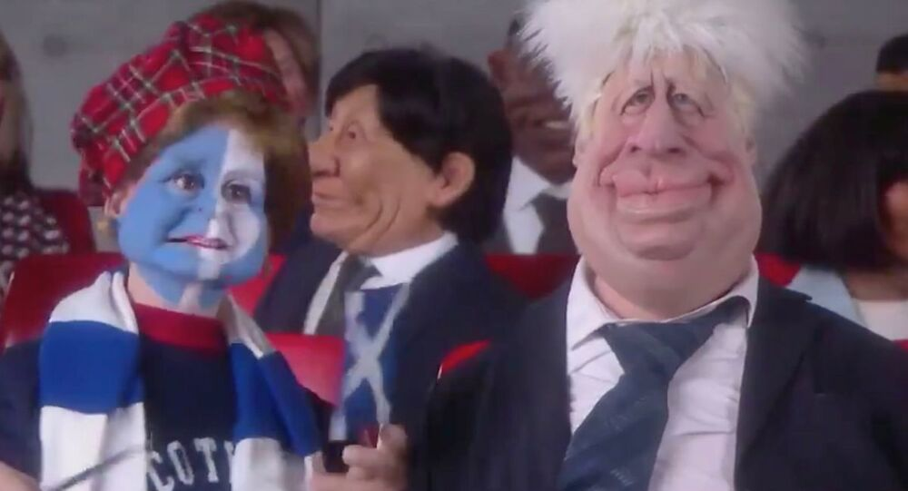 Nicola Sturgeon Spitting Image puppet (L)