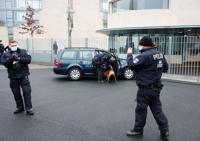 A car crash into the gate of the office of German Chancellor Angela Merkel in Berlin, Germany, November 25, 2020