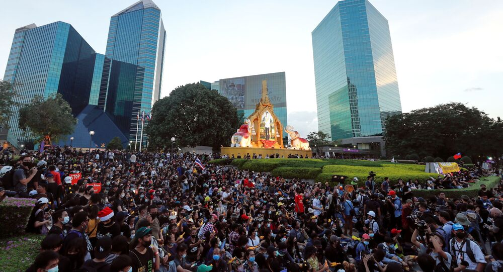 A general view shows protesters as they gather at a pro-democracy rally demanding Thailand's King Maha Vajiralongkorn hands back royal assets to the people and reforms on the monarchy, in Bangkok, Thailand, November 25, 2020
