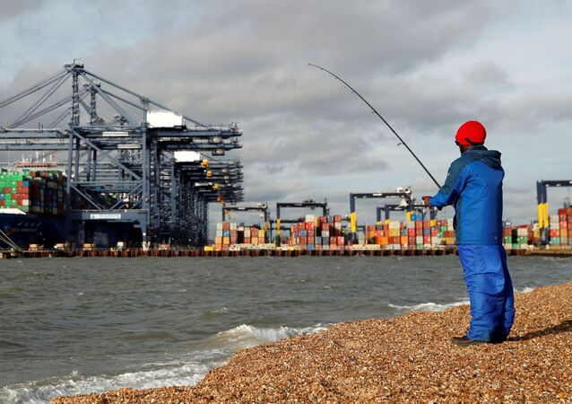 The CSCL Mercury and containers are seen at The Port of Felixstowe as a man fishes, in Felixstowe, Britain, November 17, 2020.
