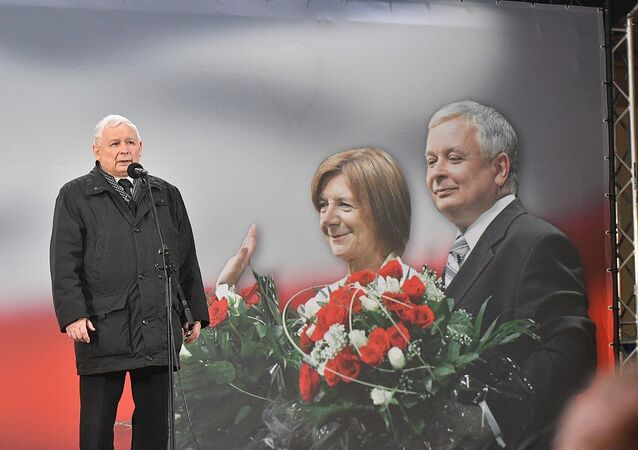 Former Polish Prime Minister Jarosław Kaczyński, brother of the President of Poland Lech Kaczyński. Basilica of St. John the Baptist in Warsaw, March of Remembrance, memory appeal in front of the Presidential Palace. Evening celebration of the 9th anniversary of the Smolensk disaster