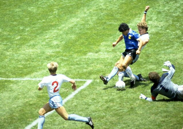 Diego Maradona scoring against England in 1986
