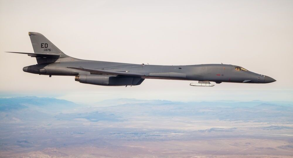 A B-1B Lancer with a Joint Air-to-Surface Standoff Missile (JASSM) flies in the skies above Edwards Air Force Base, California, Nov. 20. The flight was a demonstration of the B-1B's external weapons carriage capabilities.